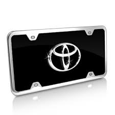 carousel toyota amazon com toyota logo black acrylic license plate with chrome