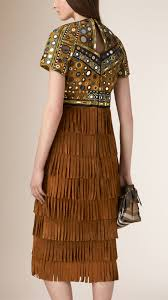 burberry suede fringe and mirror embellished dress burberry