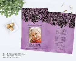 diy funeral programs diy funeral program template black lace and purple theme