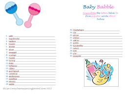Free Baby Shower Scramble Games - free printable baby shower games celebrity baby names baby