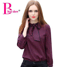 bow tie blouse plus size plaid shirts sleeve bow tie
