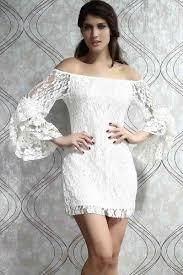 white long flare sleeve off shoulder lace dress long sleeve