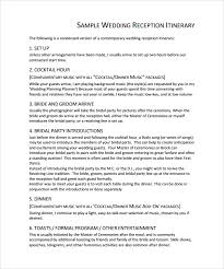 wedding reception itinerary sle wedding weekend itinerary template 12 documents in pdf