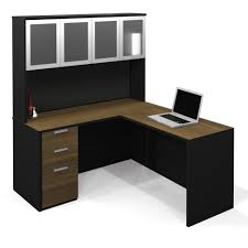 L Shaped Adjustable Height Desk by Brwon Veneered Particle Boars Mixed Black Solid Wood Corner