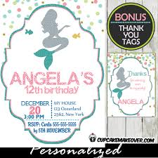 mermaid silhouette birthday invitation personalized d9