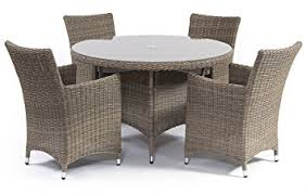 Rattan Kitchen Table by Amazon Com Suntime 5 Piece Causeway Natural Semi Round Rattan