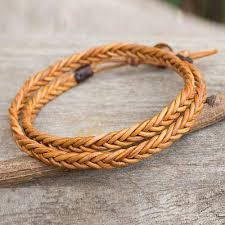 leather wrap bracelet men images Golden brown leather braid wrap bracelet for men double hug novica jpg