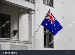 Front Porch Flag Pole Australia Flag Australian Flag Displaying On Stock Photo 714261958