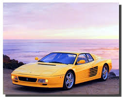 ferrari yellow car amazon com yellow ferrari testarossa transportation old car wall