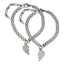 love heart silver bracelet images Buy men style 2 charm broken heart couples love heart with link jpg