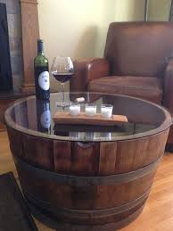 whiskey barrel side table reversible reclaimed half wine barrel table with tempered glass top