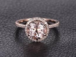 morganite engagement ring gold 8mmround pink morganite ring 14k gold morganite engagement
