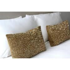 sparkling beaded silk rectangular pillow gold scenario home