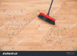 high angle view broom cleaning dirt stock photo 363132056