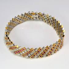 chain bracelet with diamonds images Cluster diamond ruby heavy chain bracelet 1 75 ctw 7 5 JPG