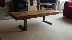 Rustic Coffee Table Legs Coffee Table In Chunky Rustic Design With Steel L Shaped Legs