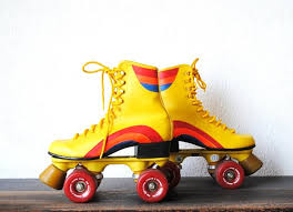 womens roller boots uk 1970s roller skates retro yellow rainbow wearable