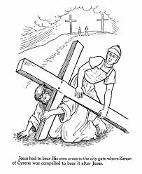 day 11 easter bible coloring page simon carries jesus u0027s cross
