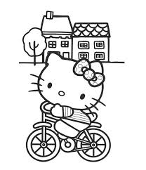 riding bicycle hello kitty coloring page free cartoon coloring