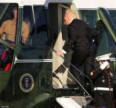 donald trump takes his first trip on air force one daily mail online