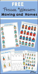 free preschool worksheets moving and homes mess for less