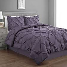 emerson purple king size bed cover 4pc pinch pleat puckering