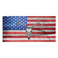 American Flag Skull Towel American Flag And Deer Skull