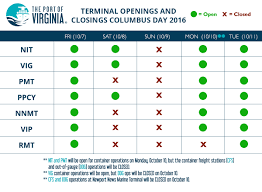 columbus day weekend operating hours port of virginia