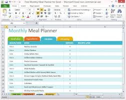 Monthly Planning Calendar Template Excel Free Monthly Meal Planner For Excel