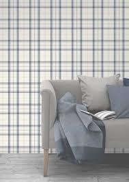 fine decor cambridge blue plaid wallpaper fd40538