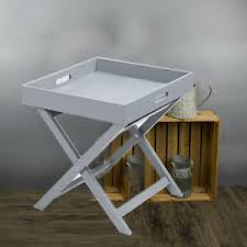 butler table with tray wooden tray butler table grey white serving folding grey ebay