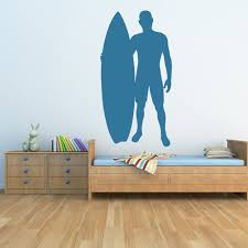 wind surfer wall sticker sport wall art surfer and surfboard silhouette surfing wall stickers sports decor art decals