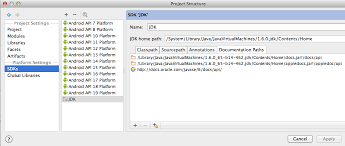 android documentation how to configure intellij for mac to show java and android
