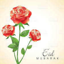 Eid Card Design Eid Festival Greeting Card Design With Beautiful Red Roses Stock