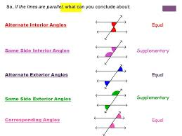 Alternate Interior by What Are Alternate Interior Angles So If The Lines Are Parallel