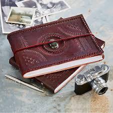 embossed photo album indra fair trade handmade medium embossed stitched stoned leather