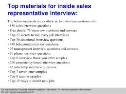 Inside Sales Resume Sample by Inside Sales Representative Interview Questions And Answers