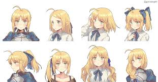 fanart fate saber in a ponytail anime