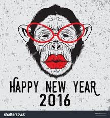 hand drawn illustration on hipster chimpanzee stock vector