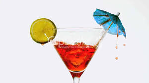 red martini splash ice cube falling into cocktail royalty free video and stock footage