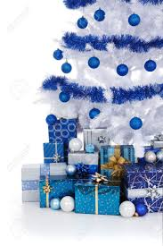 artificial white tree decorated with blue ornaments