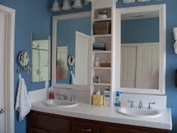 built in bathroom mirror framed bathroom mirror my husband did this one built the shelves