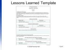 lessons learned report template introduction to project management chapter 12 managing project