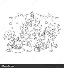 coloring page outline of children decorate the christmas tree with