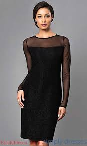 xs sheer long sleeve knee length black cocktail dress day to