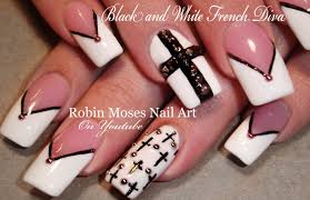 black and white nails chevron tips u0026 crosses nail art design