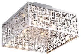Square Ceiling Light Fixture by Metropolitan Crystals Flush Mount Light Contemporary Flush