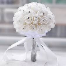 artificial wedding bouquets 2018 beautiful white ivory bridal bridesmaid flower wedding