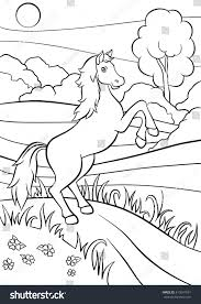 coloring pages animals cute horse jumps stock vector 413641591