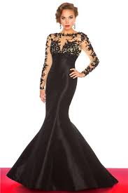 long black taffeta sheer see through tulle lace sleeve evening